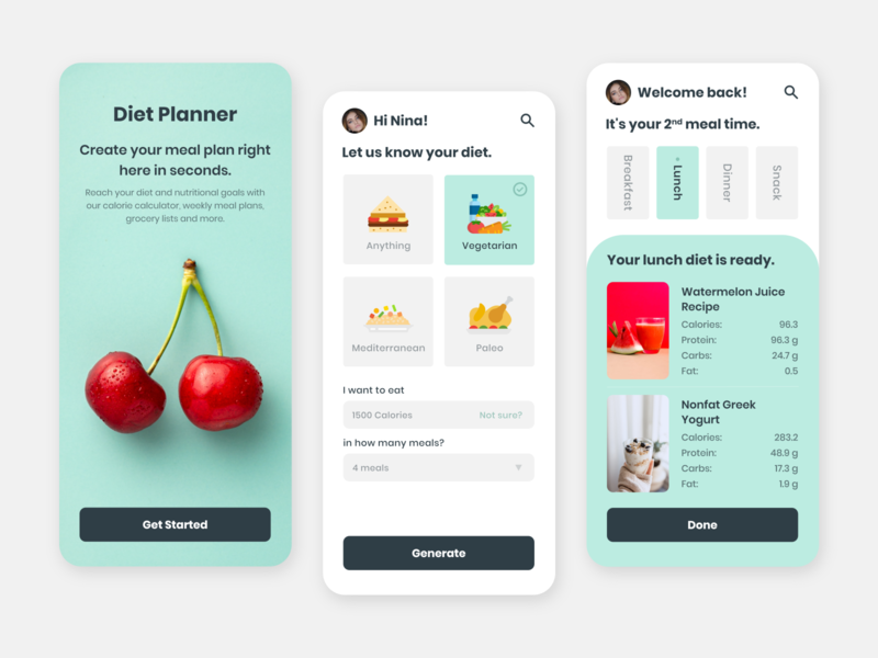 Diet Planner App diet calculate calculator app onboarding screen cart snack dinner lunch breakfast diet app diet planner diet iphone mobileapps app uiuxdesign dribbble design ui  ux ui uidesign