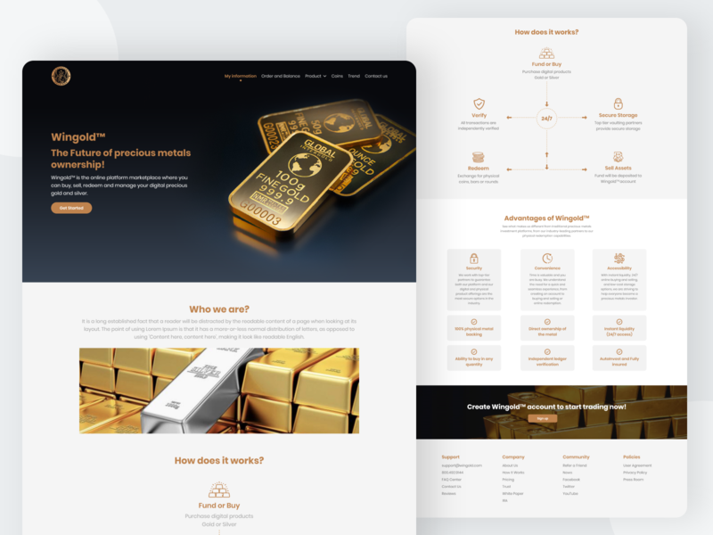 Digital Gold And Silver Buying Platform physical gold vaultchain digital silver digital gold coin digital silver gold ux landing page web uiuxdesign dribbble design ui ui  ux uidesign