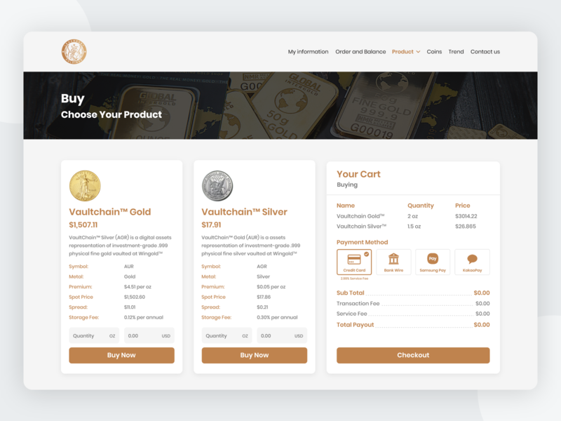 Buy Product (Digital Gold and Silver) digital assets payment method ecommerce design checkout cart digital money silver gold sell buy website design landing page uiuxdesign dribbble ui design ui  ux uidesign
