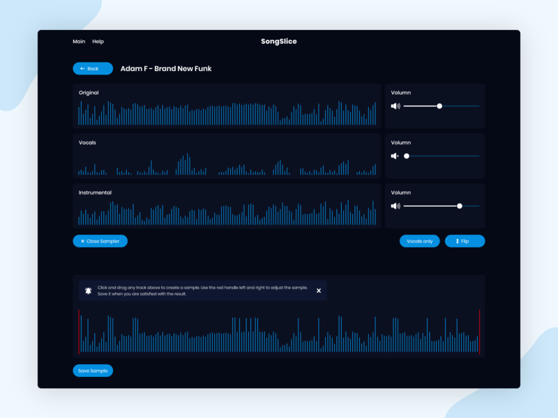 Dark Mode - Audio Merger and Splitter dark theme dark ui dark mode waves audio waves music music splitter splitter web application volumn notification desktop application desktop app web uiuxdesign ui dribbble design ui  ux uidesign