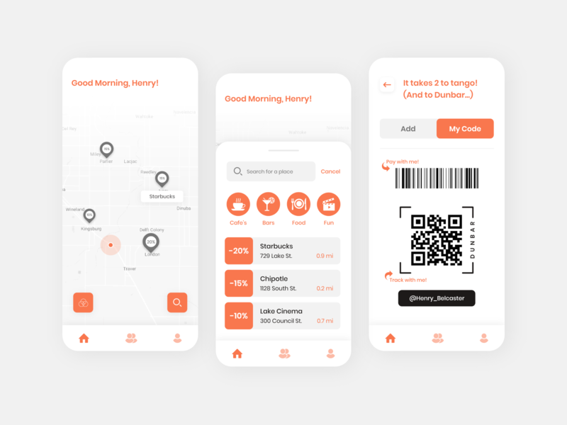 Meeting New People App Design starbucks bars fun food restaurant app people new people friends qr code location meetup ios mobileapps app uiuxdesign dribbble design ui  ux ui uidesign