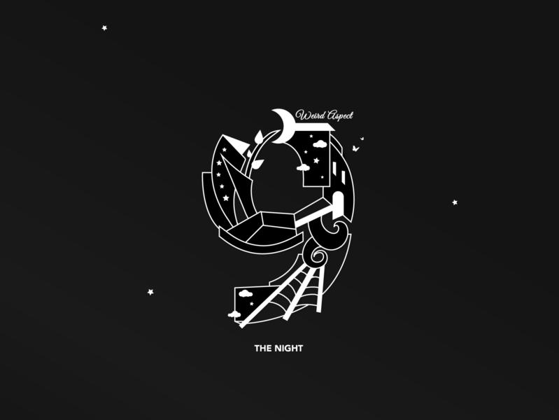 The Night type logo design artwork 3d 36dayoftype digital artist conceptual art 2d vector illustration abstract