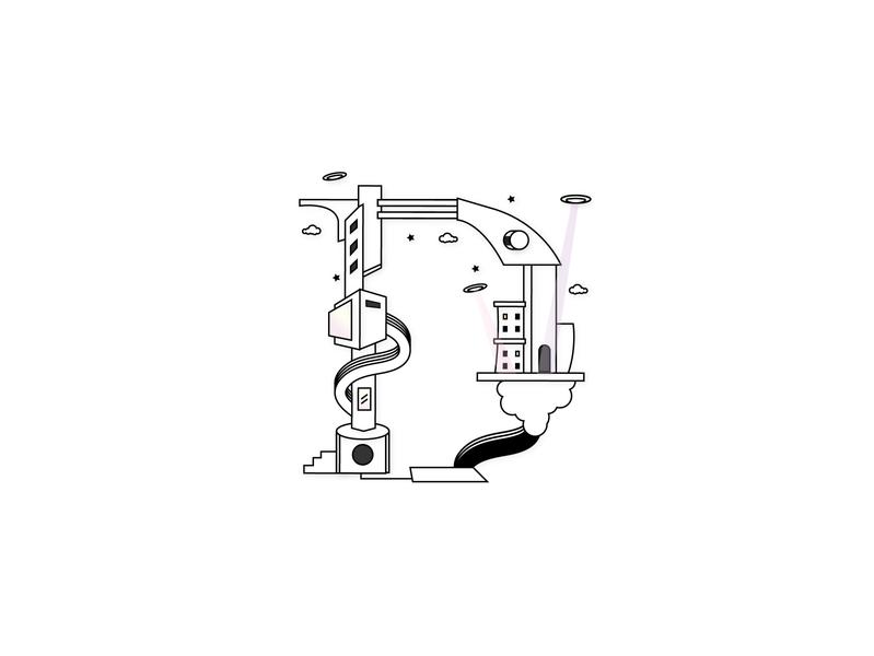 Downtown District optical 36daysoftype art design artwork 3d abstract digital artist conceptual art 2d vector illustration