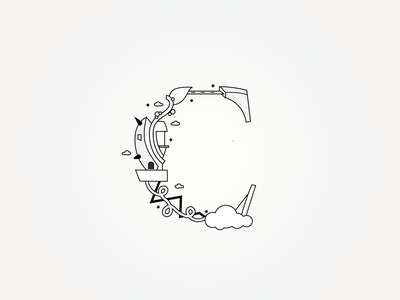 C typography illustrator conceptual art logo artwork abstract 3d 2d vector illustration