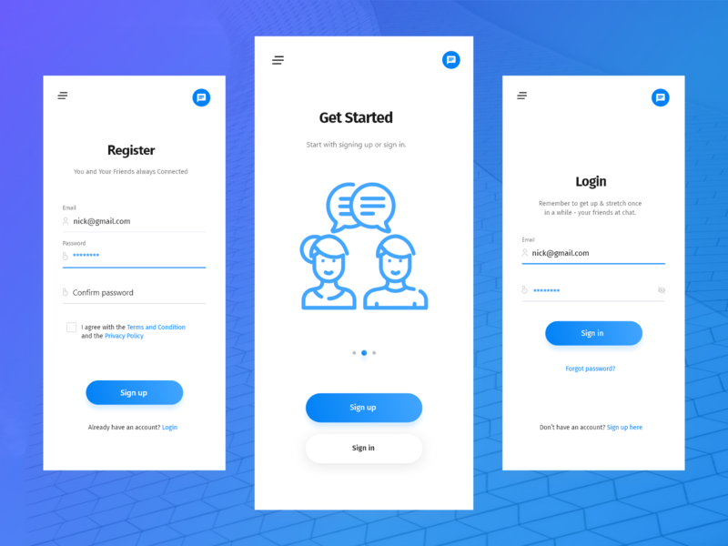 Chat App Concept Login & Sign Up Screen Design webdesign ux userinterface uiwebdesign uidesign ui typography minimalistic minimal layout page landing interface designer website webpage design web