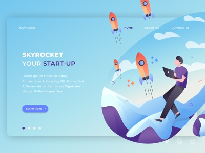 Start-up Page Design Concept webpage webdesign layout interface designer branding app landing page uidesign icon vector illustration web typography ux ui website design