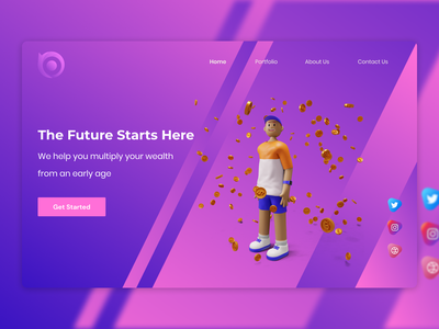 Concept Page For Young Investors mobile landing page gradients web website design branding 3d animation interafce layout graphic design app icon vector illustration logo typography ui ux website design