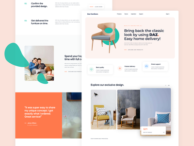Concept UI/UX Design for Furniture Shop Landing Page animation app brand uidesign flat icon illustration lettering minimal mobile type vector logo branding web typography ux ui website design