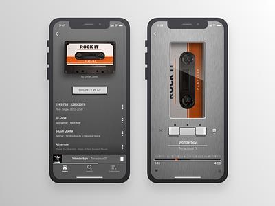 Retro Music Player   Walkman skeuomorphism cassette metal gray music music player walkman retro app design challenge dailyui ios app mobile sketch ui ux dailyuichallenge gradient design
