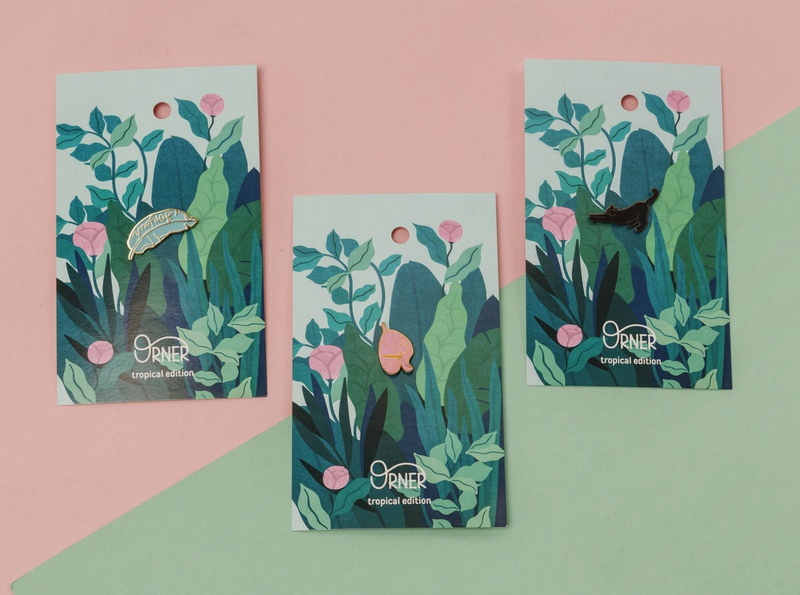 Pins - tropical edition print and pattern branding package vector print illustration design