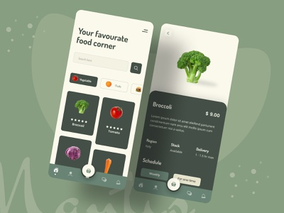 Veg App Design food app organic food food fruit vegetable android ios app food delivery minimal design typography uiux