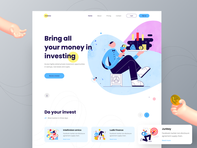 """Investa"" a Web UI Exploration workout tracker to do list online course mobile banking e commerce template event booking travel food delivery app freebie money transfer investment finance vector logo illustration web design landing page design minimal design typography uiux"