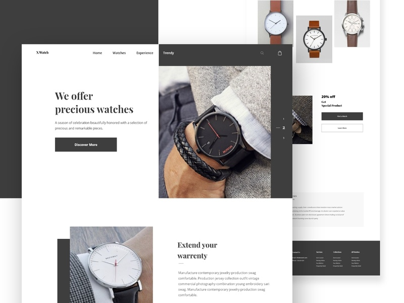 X Watch landing page design concept ecommerce design 2019 trend ecommence ux uid watch landing page design trendy clean minimal design web mobile design web design uiux home web design modern popular shot landing page design creative landing page design