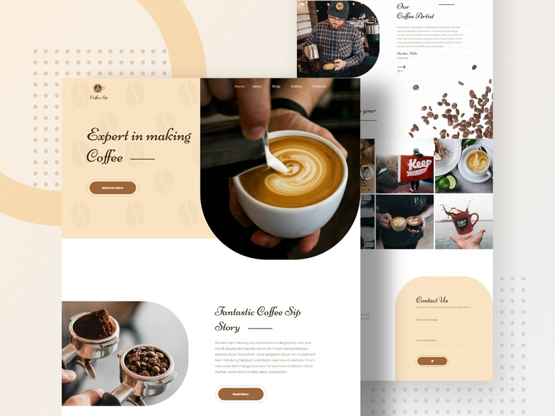 Coffee Shop Landing Page coffee shop landing page coffee tamplate coffee landing page modern popular shot trendy clean minimal design coffee shop template cafe coffee coffee shop 2019 design trend creative landing page design typography ux logo ui uiux minimal design landing page design