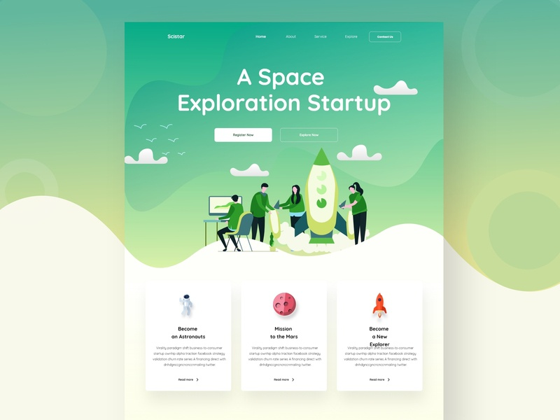 Scistar Landing Page Concept space web landing page modern popular shot typography creative landing page design home web design 2019 design trend ux ui web design design illustration uiux landing page design