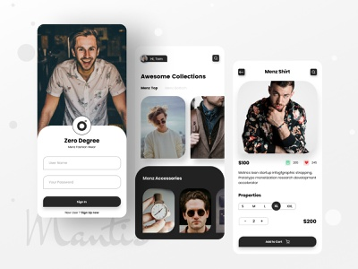 """Zero Degree"" Menz Fashion App logo ios app design mobile app uxui mobile ux mobile ui app typogaphy cloth store clothing mens fashion menswear fashion design fashion app fashion"