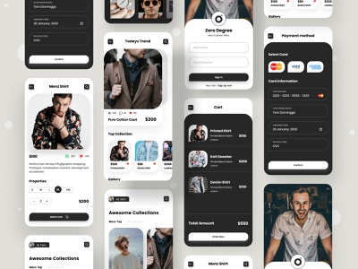 Zero Degree Fashion minimal ecommerce cartoon ios app design mobile design mobile app design logo uiux uxdesign uidesign typogaphy mens clothing clothing brand clothing menswear mens fashion fashion