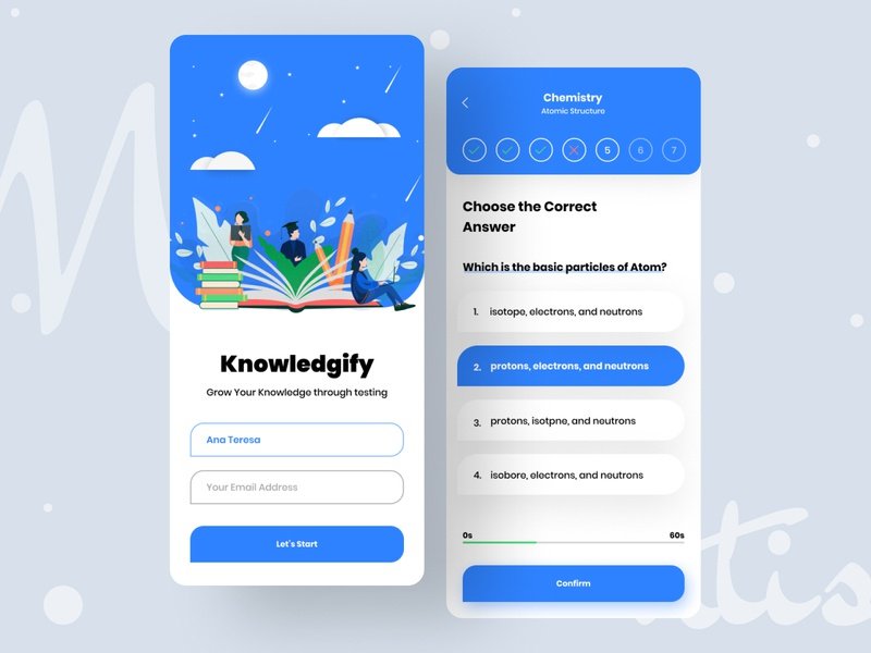 """Knowledgify"" Learning App best design course knowledge educational app e-learning learning app learning mobile application mobile ios app minimal design illustration uiux ui typography"