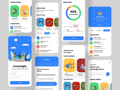 """Knowledgify"" Learning App app design ux application ios app design mobile best app design educational app educational illustration e-learning learning platform learning app design illustration uiux ui typography"