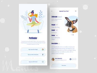 Pet Finder App design android app mobile app ux ui minimal illustraion typogaphy ios app pussy cat dog amimals lost pet petfinder pet