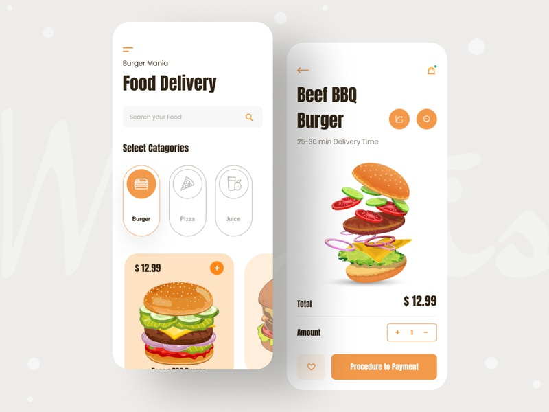 Food Delivery App mobile app mobile ui android app ios minimal design minimalist ui ux typography food delivery app food delivery service food illustration illustraion food design food delivery pizza shop burger shop snackbar food and drink food app