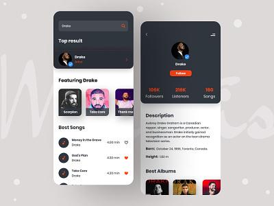 Music Hub App andriod ios singer artist music hub music player modern minimal mobile ui store social music app music design app design application app ui ux typography
