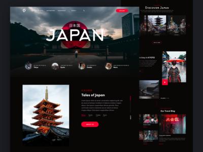 Japan Travel landing page culture japanese culture web inspiration landing page ui landing red black modern dark travel asia japan