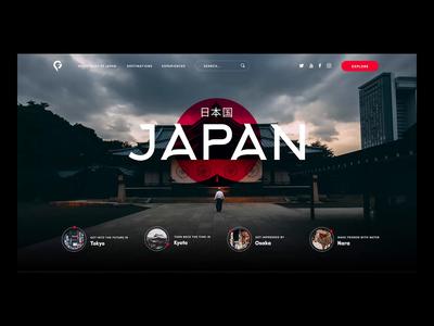 Japan Travel main screen animation inspiration design landing page photoshop premiere black dark japan video travel animation glitch