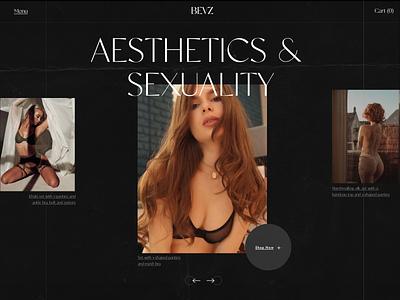BEVZ underwear website concept store lingerie underwear modern dark grid web typography ui