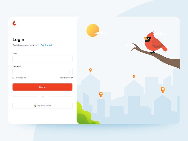 Login Page split fold web app website web ui minimal logo concept color character branding brand art app animation animal figma illustration clean ux
