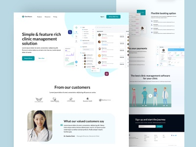 Clinic app landing page saas app hospital app clinical color minimal simple ui clean ux design doctor app doctor appointment appointments bookings clinic management clinic