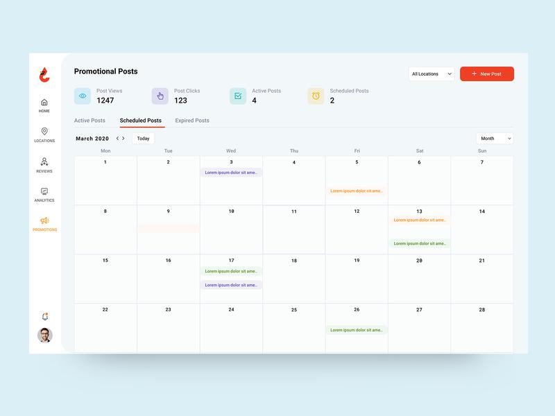 Calendar View promotions concept color minimal simple ui clean ux design calendar view schedule post post schedule planning calendar