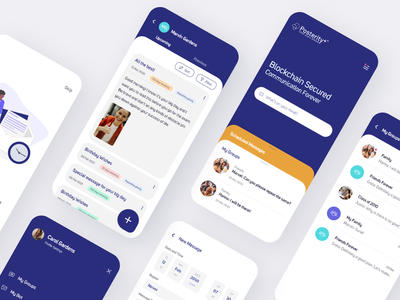 Posterity+ App xd design ui simple clean ux design android app design ios app design mobile mobile app design mobile design mobile app mobile ui chat app chatbot schedule scheduling schedule app scheduler messaging