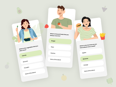 Onboarding questionnaire food fun illustration art illustrations minimal simple clean design healthcare healthy fitness app health app mobile app mobile ui mobile onboarding screen onboarding onboarding screens onboarding ui