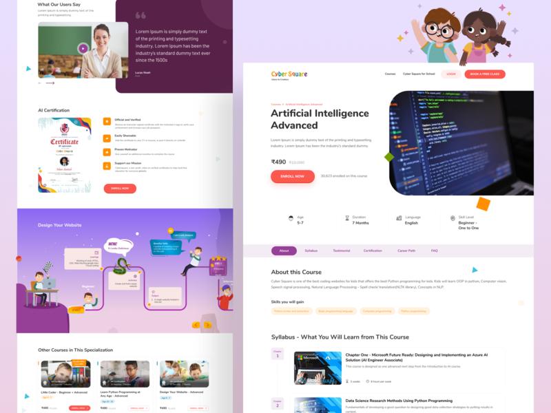 Course Detail branding web ux minimal simple illustration illustrator clean design education educational education website programming coding