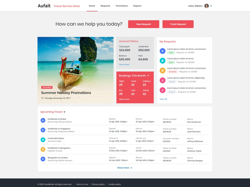 Travel Desk Home Page interface minimal icon color concept typography green logo simple blue web clean ui ux travel agency design ux  ui customer experience customerservice customer portal