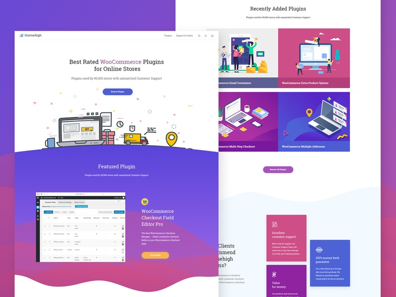 Landing Page for a Plugin Store purple concept color brand logo minimal responsive web home page clean gradient branding plugin store plugins woocommerce typography illustration design ui ux