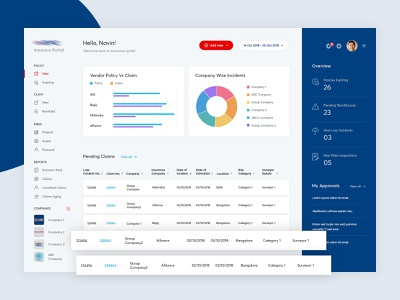 Insurance Dashboard insurance dashboard art sharepoint dailyui photoshop interface blue concept web color simple icon typography clean insurance ui admin dashbaord design ux