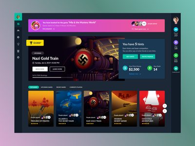 Game Dashboard art interface dailyui illustrator photoshop concept web color minimal simple icon clean typography hints dashbaord design ui ux game game dashboard