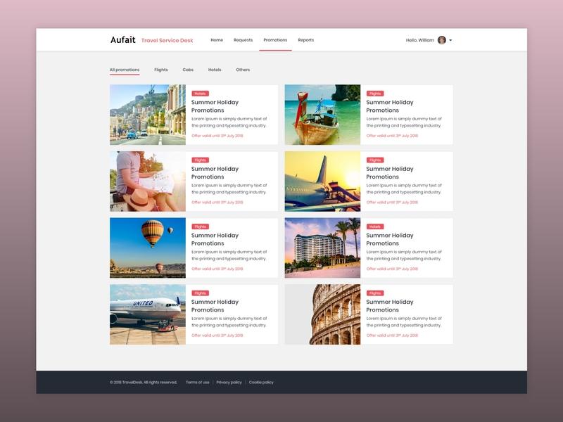 Promotions Listing dailyui interface photoshop website web design web concept color icon minimal simple clean ux ui design promo site tourism travel listing promotions