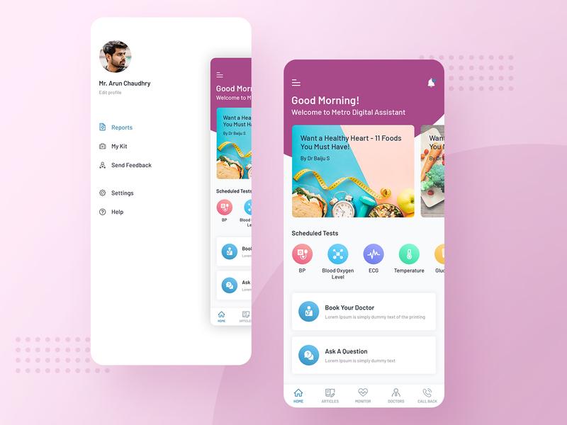 Drinn App mobile design mobile ui health care cardiologists cardiology health photoshop concept color minimal simple ui clean ux design ios app menu menu home screen home