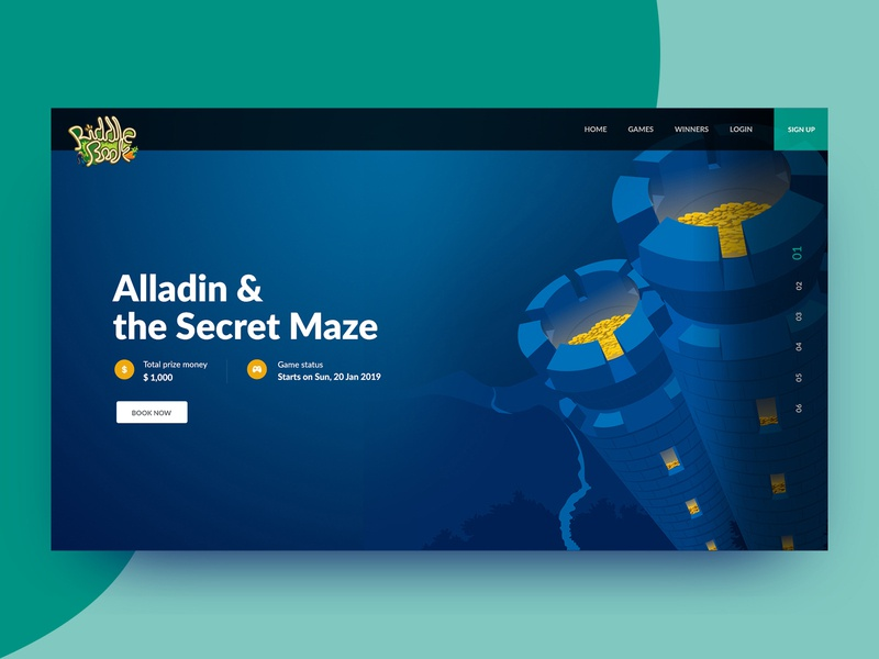 Game Landing page scroll animation blue illustrator illustrations themes game design website web photoshop icon concept color minimal simple ui clean ux design landing page game