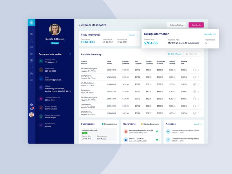 Customer Dashboard profile insurance company insurance app insurance blue icon photoshop concept color minimal simple ui clean ux design admin dashboard admin panel admin