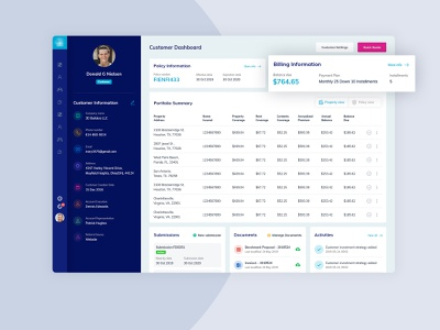 Customer Dashboard profile insurance company insurance app insurance blue icon photoshop concept color minimal simple ui clean ux design admin dashboard admin panel admin