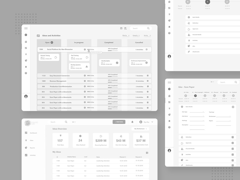 Project Management app Wireframes accordion kanban view kanban wireframing wireframe design greyscale project management app project management tool wireframes wireframe xd wireframe xd concept minimal ui ux design admin panel admin project management