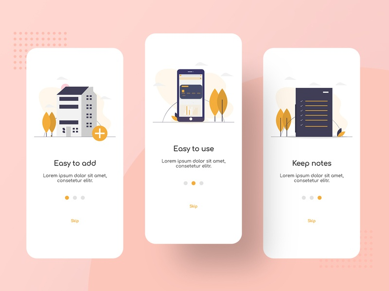 App Onboarding property management objects mobile design mobile app design mobile app mobile ui mobile photoshop color minimal xd xd design illustration illustrations clean ux design onboarding screens onboarding ui onboarding
