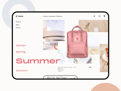 Backpack product page shop fashion soft feeling fjallraven pastel style shapes interaction ecommerce collage sketch principle backpack ui clean animation product page product