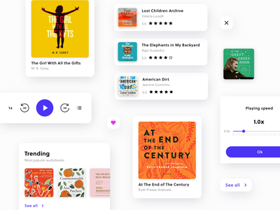 UI elements - Audiobook App mobile components case study ui elements elements ux ui typogaphy sketch minimal cover asset colors clean book audiobook app design application app
