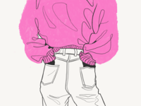 Pink sweater flat fun doodle color character drawing draw procreate dribble sketching sketch girl sweater pink illustration