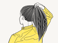 Yellow sweater 🍋 2d graphic lemon yellow doodle vintage character girl lineart procreateapp procreate minimal drawing clean sketch illustration